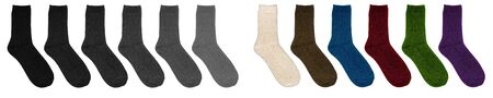 Socks of different colors. Socks in row on a white background. Multicolor socks on white background.