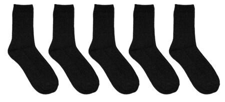 Set of black socks isolated on white background. Warm wool socks. Five pairs of black socks. In isolation