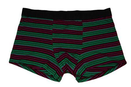 Men's underwear. Boxer briefs isolated on white background. Men's briefs with stripes.
