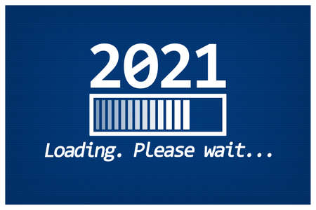 Greeting Card. Loading 2021. Blue and White. Minimalism. Stockfoto
