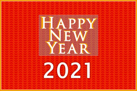 """Greeting card """"Happy New Year 2021"""". Red, white, gold. Minimalism. Greeting card design."""