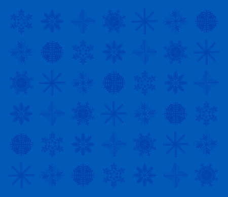 Dark blue snowflakes on a light blue background. Desktop Wallpaper. The design of the snowflakes.