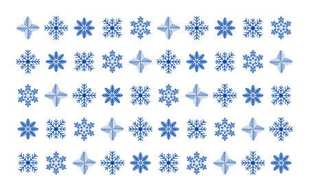 Dark blue snowflakes on a white background. Desktop Wallpaper. The design of the snowflakes. Vector Illustratie