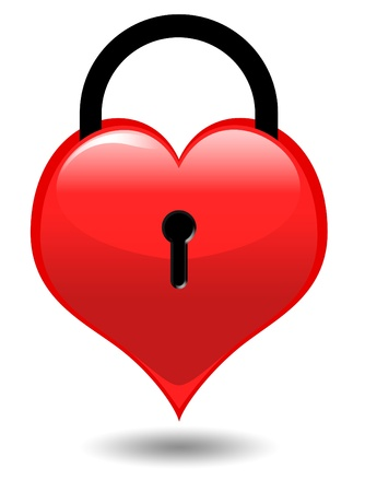 Heart on a lock isolated on white Stock Photo - 8703874