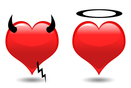 Angel and Devil hearts isolated on white