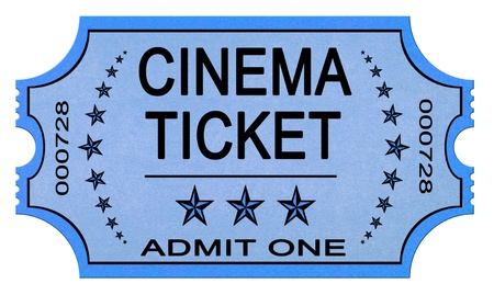 actors: Old cinema ticket isolated on white