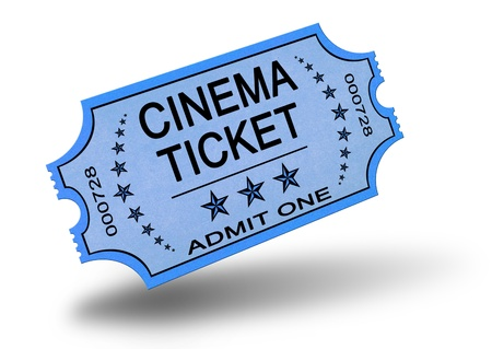 admit one: Old cinema ticket isolated on white