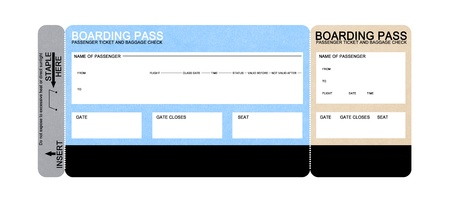 boarding card: compagnia aerea vuoto boarding pass biglietto isolata on white Archivio Fotografico