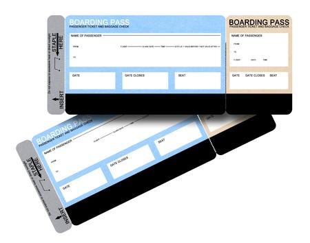 boarding card: Due compagnie aeree vuoto imbarco passare biglietti isolati on white Archivio Fotografico