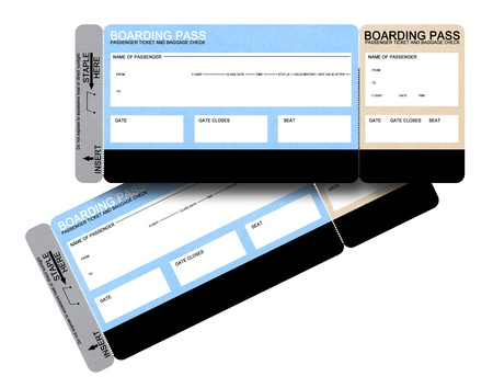 airline: Two blank airline boarding pass tickets isolated on white