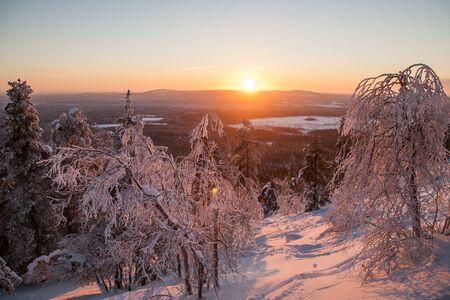 Sunrise.Fantastic sunrise, morning winter landscape. Fantastic overcast sky. Beautiful winter landscape. Beauty world. European beautiful winter mountains.