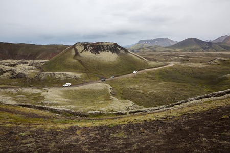 Travel by car through the mountains of landmannalaugar