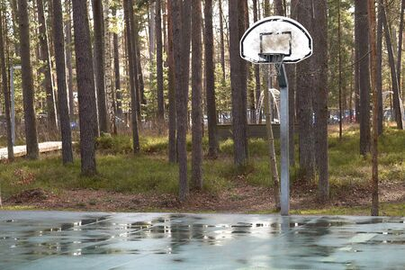 Basketball hoop and playground in the forest park with puddles after rain Imagens