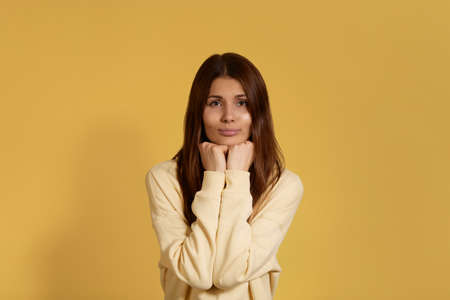 What a cutie. Cheerful friendly caucasian woman in yellow hoodie, holds hands under chin, glad to see something cute, expresses care for the pets. Isolated over a yellow background