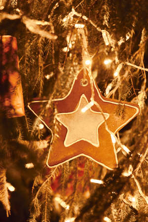Gingerbread star and golden Christmas Fir Tree Decoration With Gold Ornaments with garland lights.