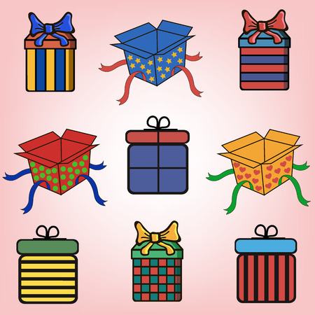 ribbons and bows: Gift boxes with bows and ribbons