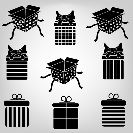ribbons and bows: Silhouette gift boxes with bows and ribbons Illustration