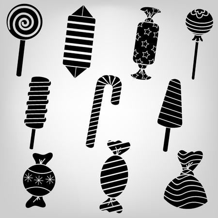 sugary: Silhouette kit sugary sweets and candies in a beautiful package Illustration