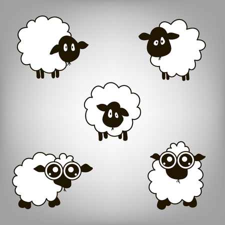 物思いにふける外観と大きな目を持つ 5 つの羊