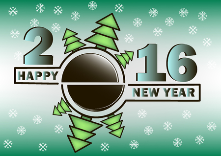 puck: happy new year 2016 and hockey puck with Christmas trees
