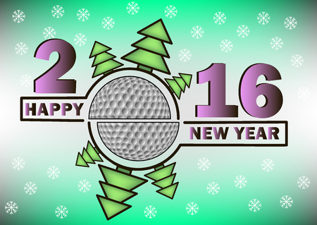 christmas golf: happy new year 2016 and golf ball with Christmas trees