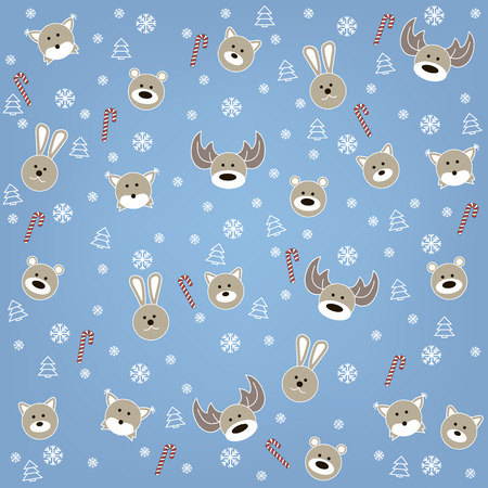 Christmas background with deer, bear, rabbit, fox and wolf Illustration