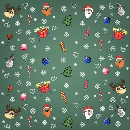 candy box: Christmas background with Santa Claus, snowman, candy, box gift, monkey, deer, snowflakes and Christmas tree Illustration