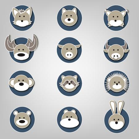 Vector illustratie van dierlijke gezicht set
