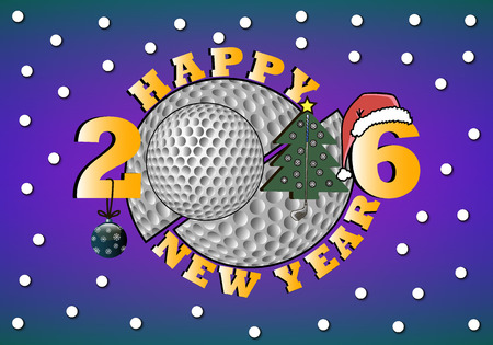 christmas golf: happy new year 2016 and golf with Christmas tree