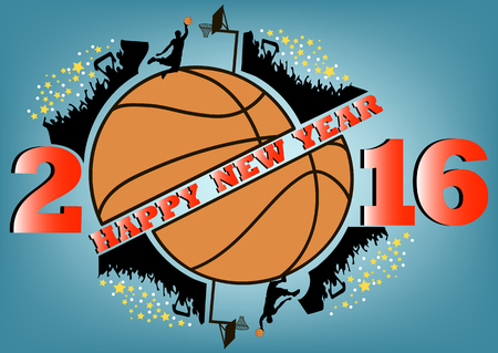 the fans: happy new year 2016 and Basketball with fans Illustration