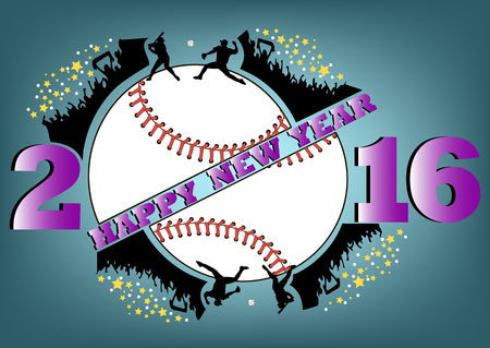 happy people: happy new year 2016 and baseball with people fans Illustration