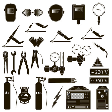 Set icons of welding isolated on black. Vector illustration
