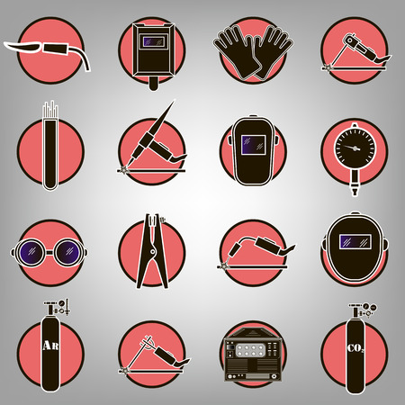 argon: Set icons of welding isolated on black. Vector illustration