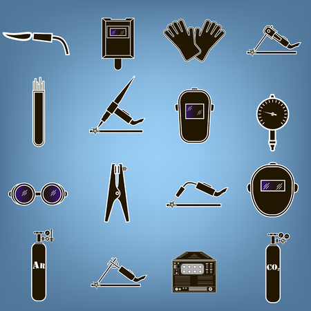 grounding: Set icons of welding isolated on black. Vector illustration