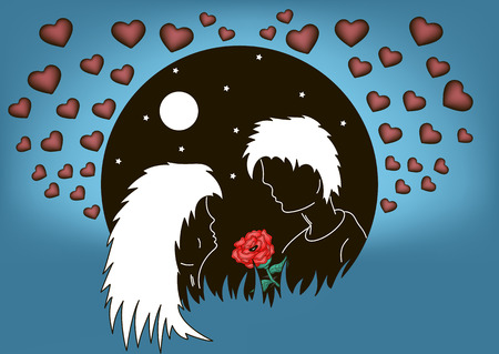 silhouette of enamored men and women against the background of the moon and hearts. Vector illustration