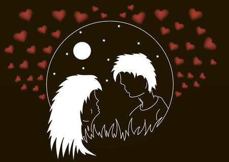 st  valentin: silhouette of enamored men and women against the background of the moon and hearts. Vector illustration