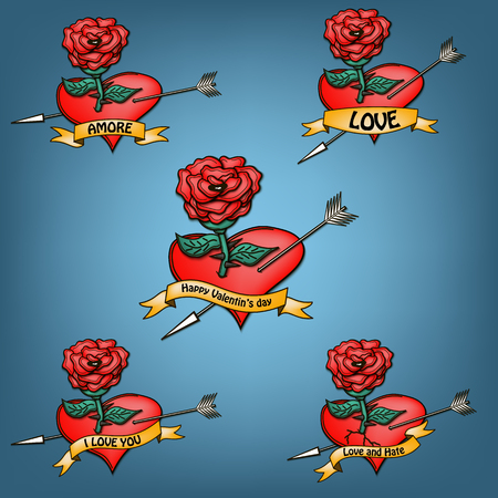 amore: Set Rose and hearts with banners. Vector illustration