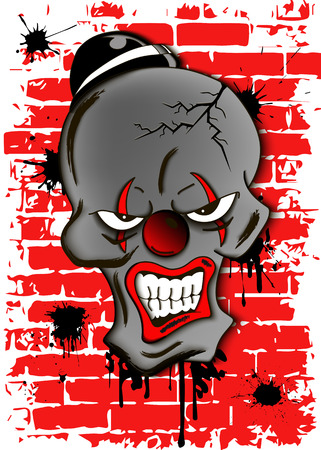 killer: Skull of a dead evil clown in hat. Illustration