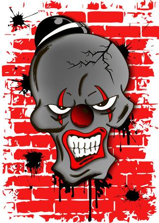 Skull of a dead evil clown in hat. Illustration