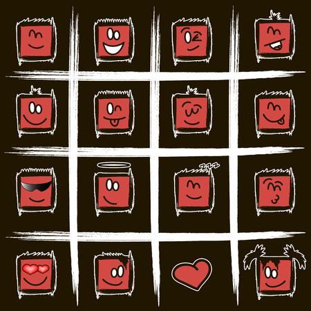 smilies: a set of positive square smilies. Illustration