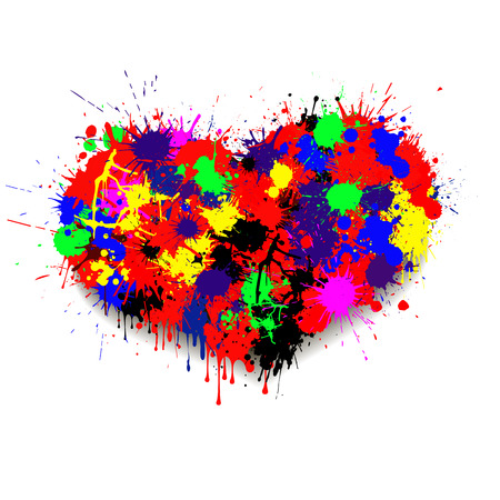 slur: Multicolored blots of paint to create a form of heart. Illustration
