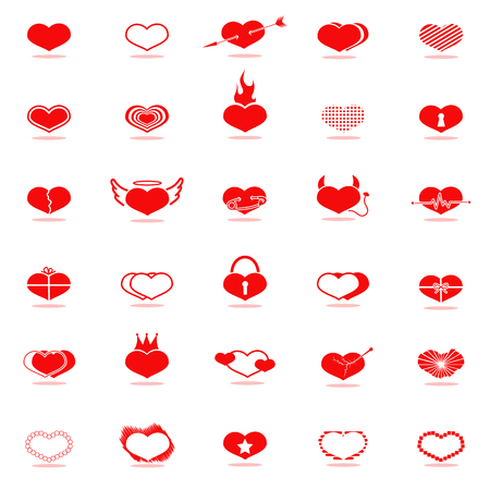 crown tail: Set of red hearts icons.