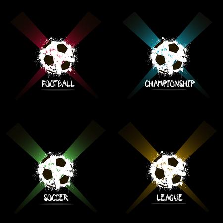 ink blots: Set abstract Soccer balls of ink blots in lighting.