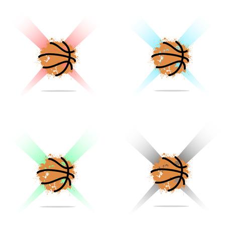 ink blots: Set abstract Basketball of ink blots in lighting. Vector illustration Illustration
