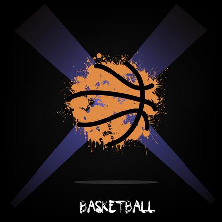 Abstract Basketball inktvlekken in verlichting. vector illustratie