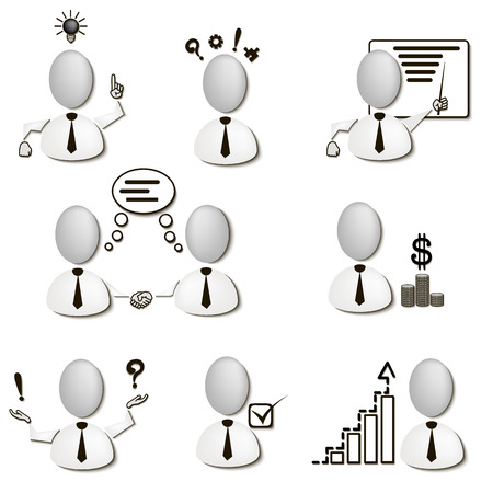 ability to speak: Set Human Resources Management icons. Vector illustration