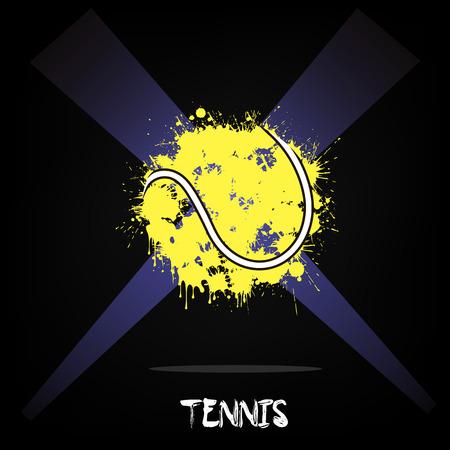 ink blots: Abstract tennis of ink blots in lighting. Vector illustration