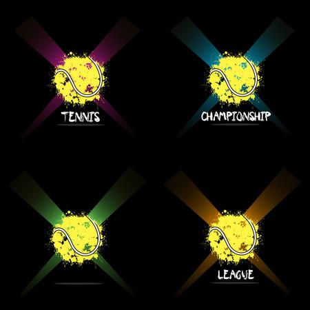 ink blots: Set abstract tennis of ink blots in lighting. Vector illustration Illustration