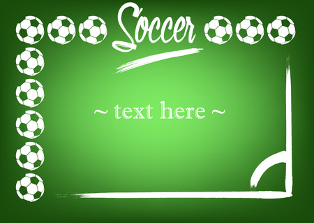 marking: frame with soccer balls and marking on a green background. Vector illustration Illustration