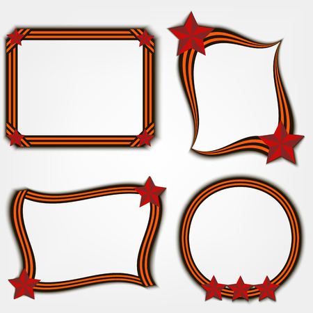 honour guard: Frame of St. Georges ribbon and a red star. Vector illustration